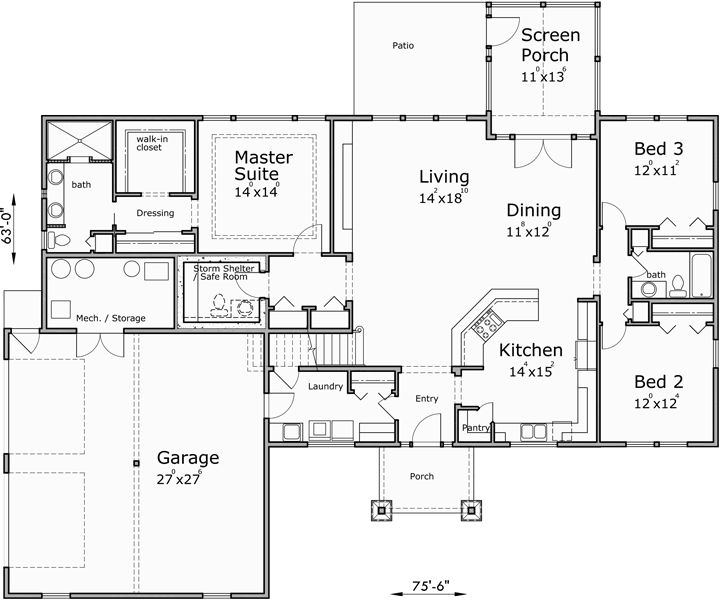 Main Floor Plan for 10164-fb One story house plans, house plans with bonus room, house plans with safe room, house plans with storm shelter 10164-fb