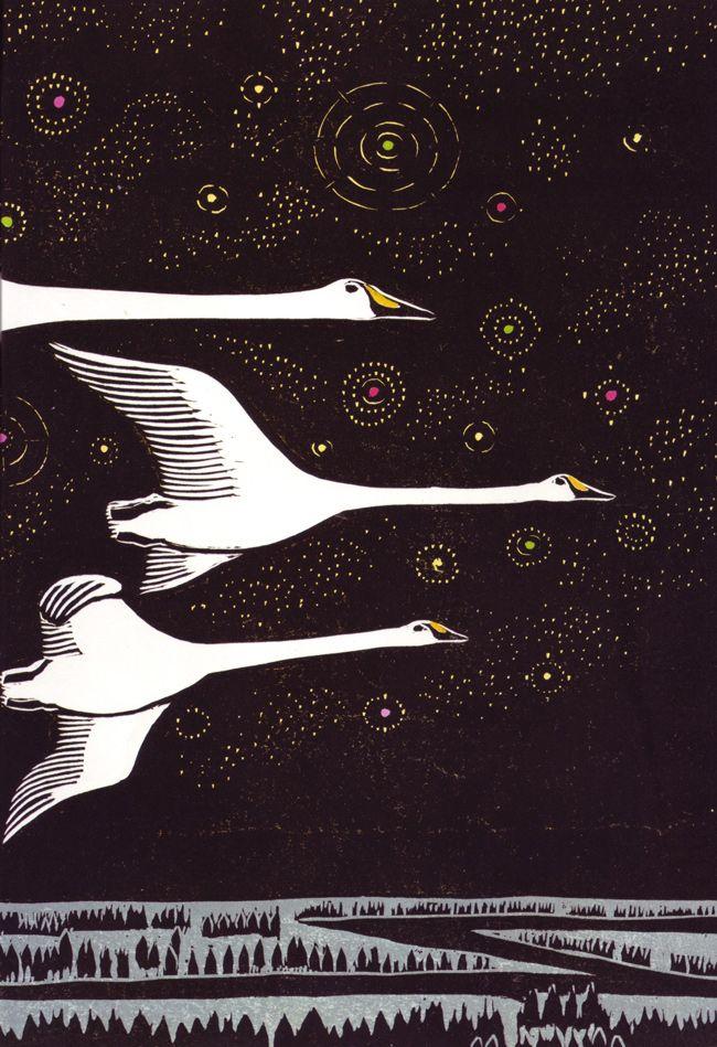 Swan Sky ~ woodcut illustrations ~ Keizaburo Tejima