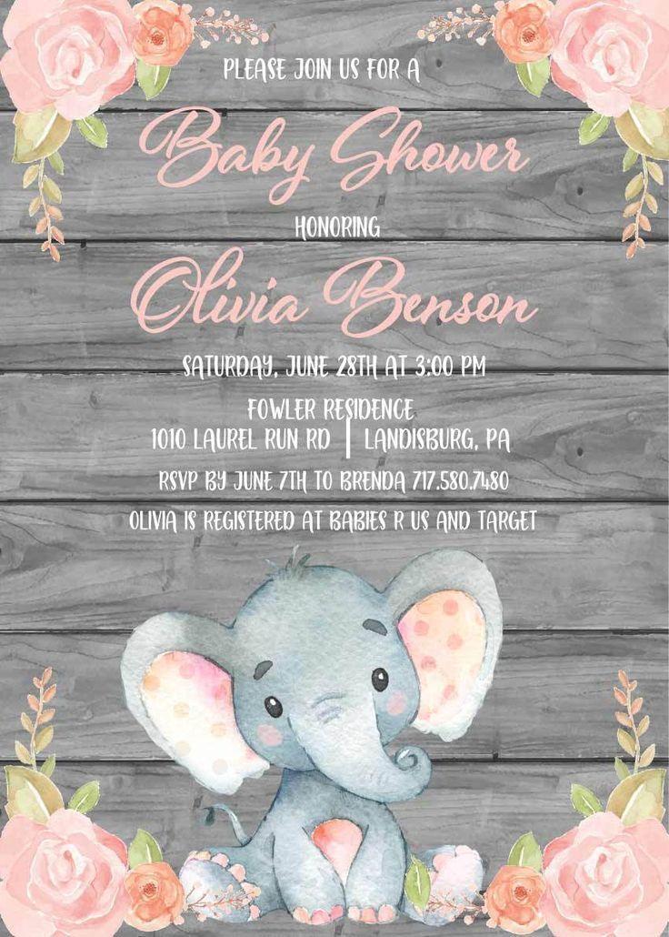 Elephant Baby Shower Invitation Card Ideas En 2019 Elefantes Beb 233 Invitaciones Baby Shower