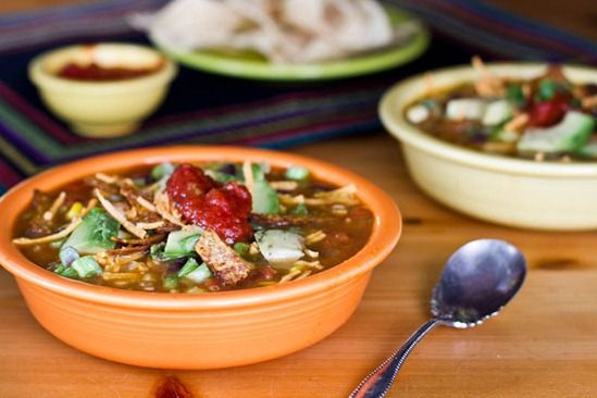 Vegan Tortilla Soup—June 2, 2014—Omissions: green chili peppers, chia seeds, green onion, non-dairy cheese. Substitutions: frozen corn for fresh, blue corn chips for tortilla sticks.
