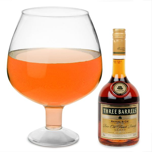 Almost 6 litres, better than a fishbowl for sure.....   Giant Acrylic Brandy Glass 193.5oz / 5.5ltr | Giant Glassware Novelty Brandy Glasses - Buy at drinkstuff