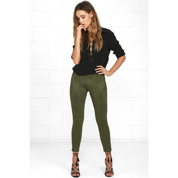 Made in the Suede Olive Green Suede Leggings featuring polyvore, women's fashion, clothing, pants, leggings, green, high waisted pants, suede leggings, green leggings, white high waisted pants and high-rise leggings