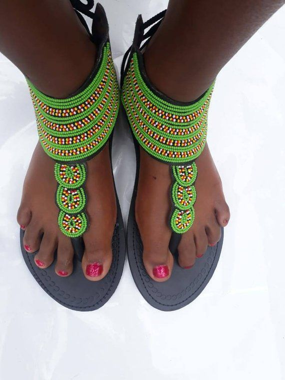 566c96c8ba1b African Sandals- Maasai Sandals for women-Leather sandals- Flat ...