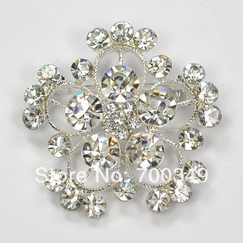Посеребрение 12 piece/lot прозрачный кристалл горный хрусталь невесты свадьба ну вечеринку цветок брошь C2070 макияж-1