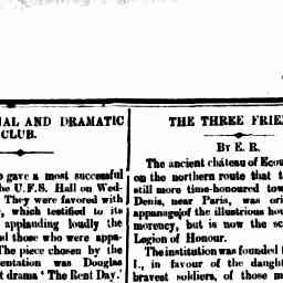 """""""On hearing footsteps they secrete themselves, and become eaves droppers of a coloquy between Old Crumb. and his factotum 'Bull Frog' Mr. J. B. Stanway)"""". North Melbourne Advertiser, 20 Feb 1885, p. 4, 'Hotham Social and Dramatic Club'."""