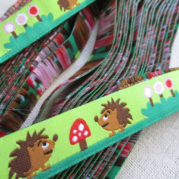 "Embroidered Ribbon. 3m (3.2yds). Hedgehog, Woodland Trim. Pacifier clip ribbon. 16mm 5/8"" wide. AUD 2.60 Worldwide Post!"