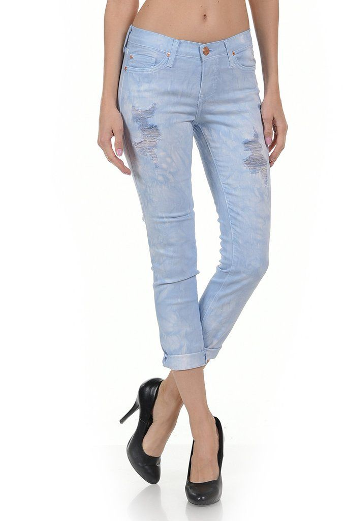 Angry Rabbit Tie Dye Cropped Jeans – Jubilee Couture #angry Rabbit #Capri #Distress