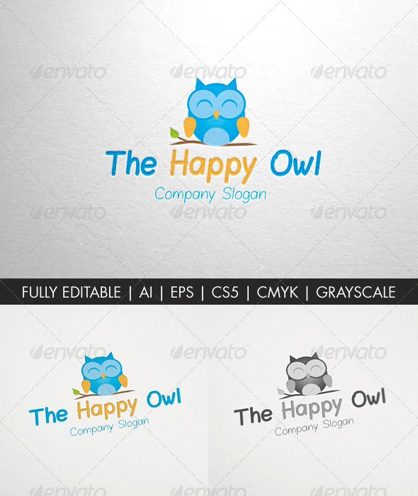 The Happy Owl logo template