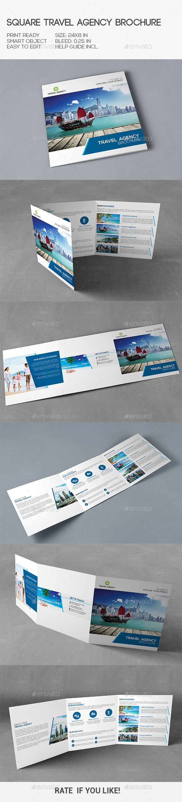 Travel Agency Square Brochure Template #design Download…