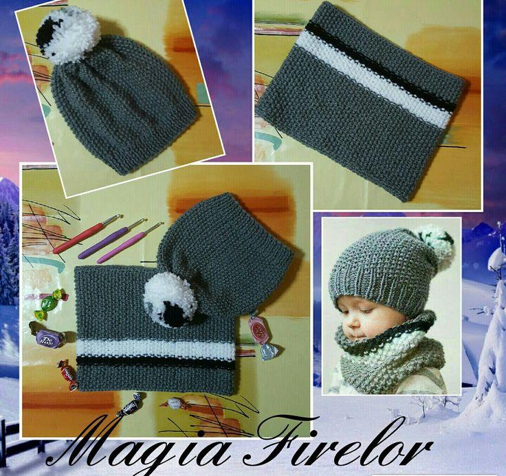 Caciula si fular crosetate, crochet hat&shawl