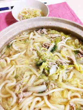 トロトロ白菜と豚肉の絶品うどん!トロトロ白菜と旨味が溶け込んだ出汁が最高に美味しいですよ♫ポカポカ温まります♫子供も大満足です