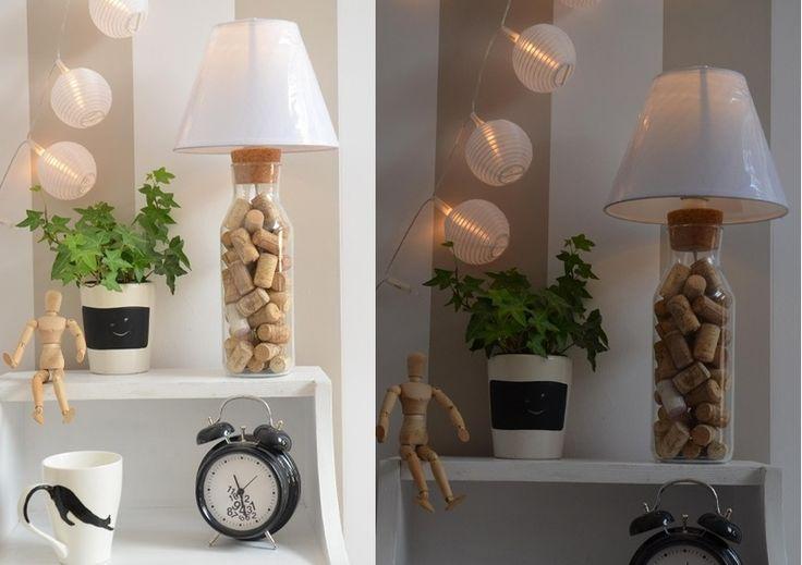 lamp, lampa, zrób to sam, korek, diy, lamp, hand made, bottle, wine, white, home, diy