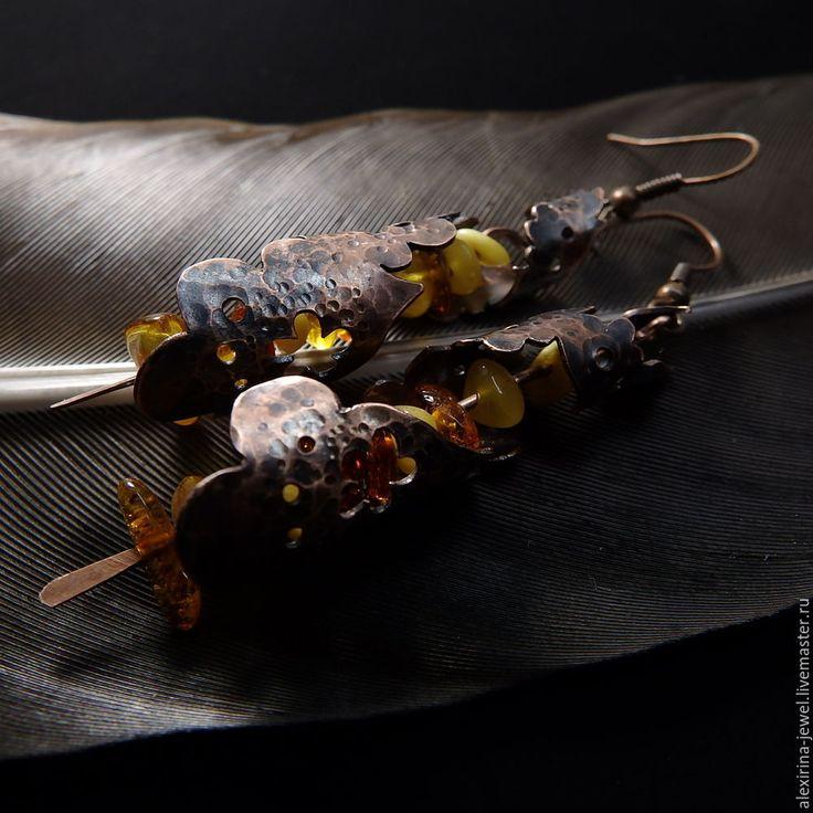 Создание медных сережек с янтарем «Марокканские фонарики» - Ярмарка Мастеров - ручная работа, handmade