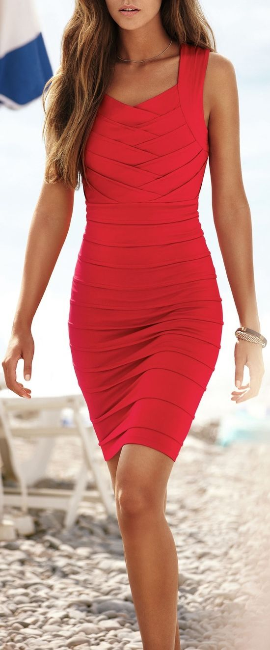 Red bandage dress. That style compliments the body shape so good