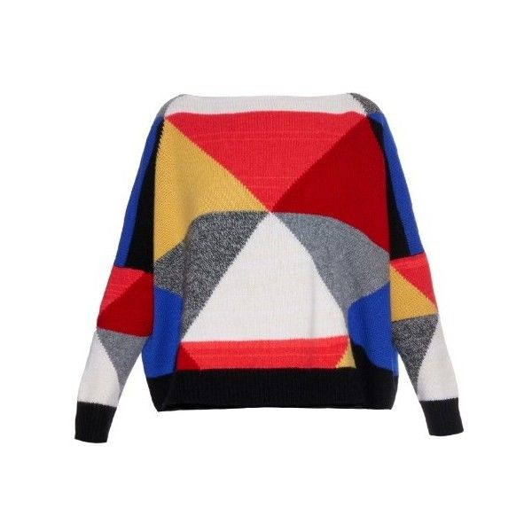 Esk Colour-block cashmere-knit sweater (79.290 RUB) ❤ liked on Polyvore featuring tops, sweaters, multi, rainbow sweater, color block sweater, block tops, pattern sweater and geometric print sweater