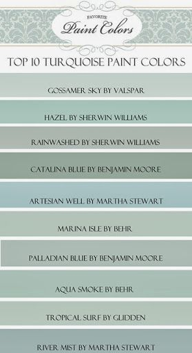 "Happy Friday everyone! Today I am sharing with you my favorite blue/green, or ""turquoise"" paint colors. I was looking through my paint decks trying to help a friend who was looking for the perfect ..."