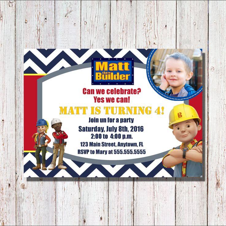 Bob the Builder Birthday Invitation, Bob the Builder Birthday, Bob the Builder Invitation by SharpeCorner on Etsy https://www.etsy.com/listing/266136484/bob-the-builder-birthday-invitation-bob