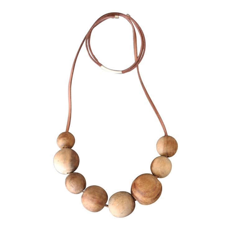 Ooohhh...present for me. Natural wood mixed bead necklace Christmas in #htfstyle