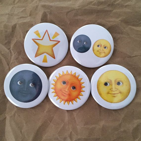 Sun Moon and Star emoji buttons by HypotheticalButtonCo on Etsy