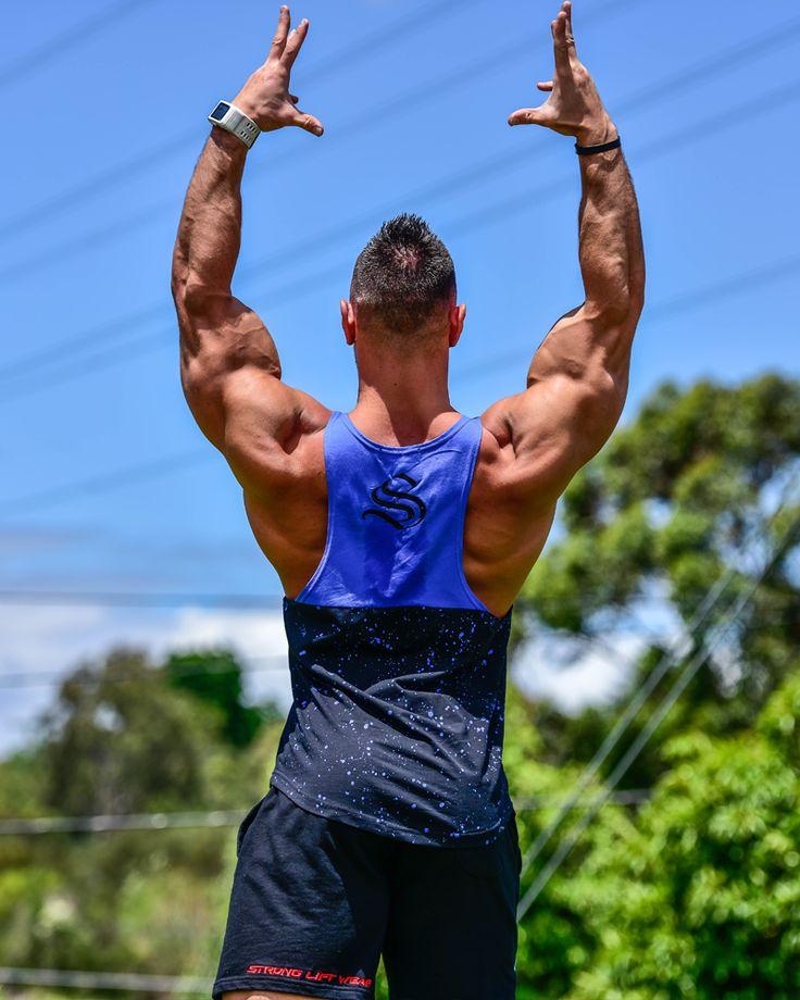 @strongliftwear Galaxy Cooltech Taperback - Blue #fitness www.strongliftwear.com