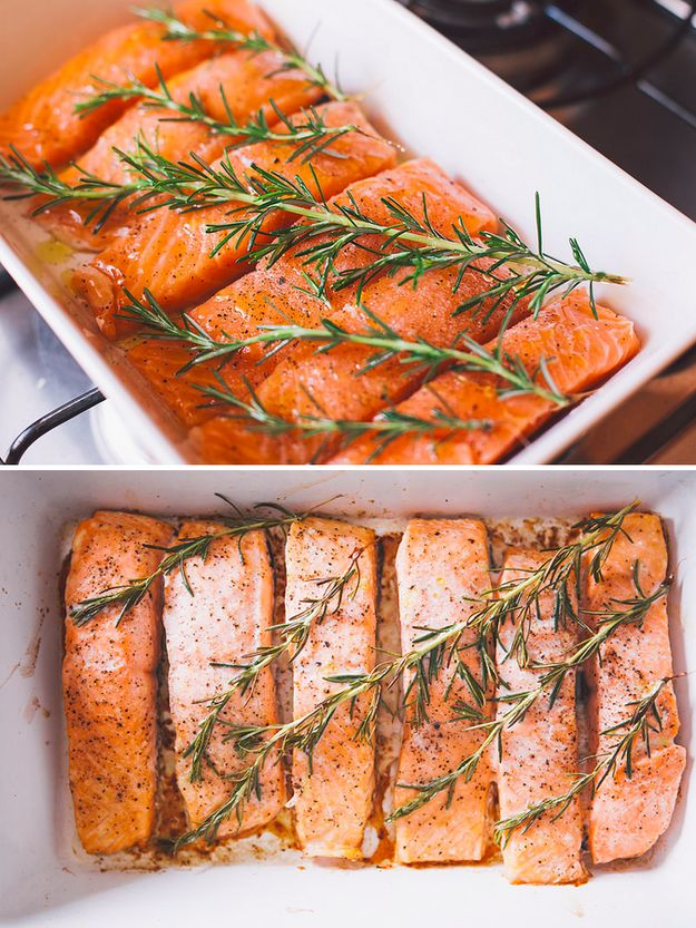 Um salmãozinho com alecrim à prova de preguiça.