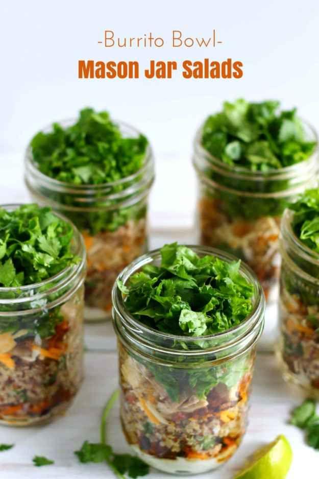 Make ahead meals including burrito bowl Mason jar salads.