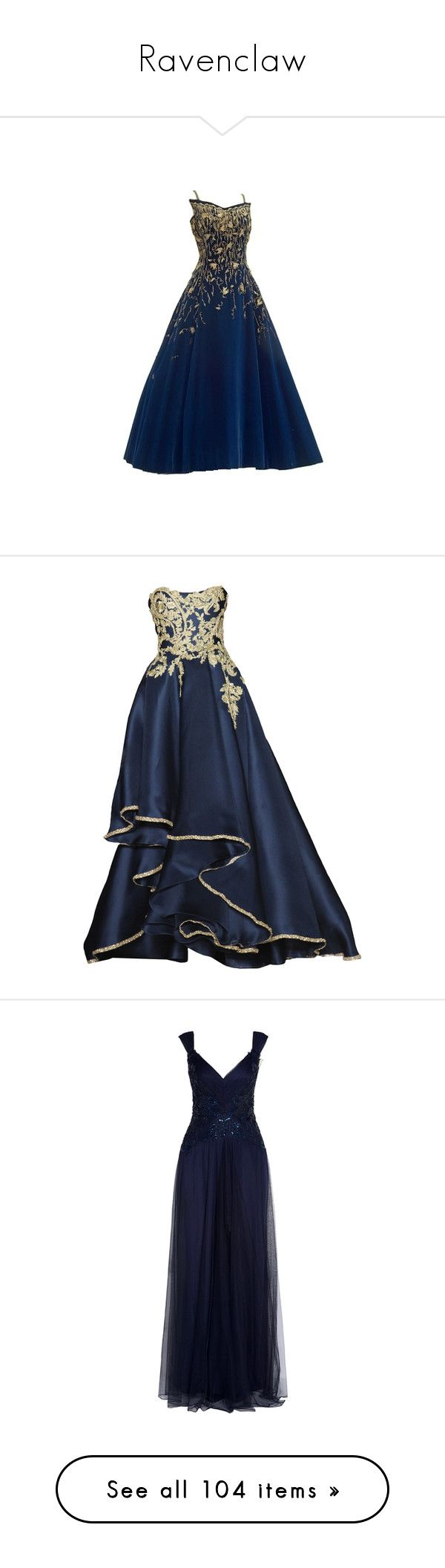"""Ravenclaw"" by xx-broken-ones-xx ❤ liked on Polyvore featuring dresses, gowns, long dress, long dresses, vestidos, long blue evening dress, blue ball gown, marchesa evening gowns, marchesa dresses and blue evening gown"
