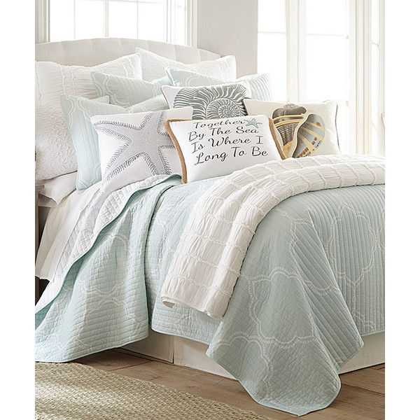 Levtex Home Ice Blue Miccah Quilt Set ($95) ❤ liked on Polyvore featuring home, bed & bath, bedding, quilts, twin quilt sets, twin bedding, twin bed linens, ice blue bedding and cotton quilt sets