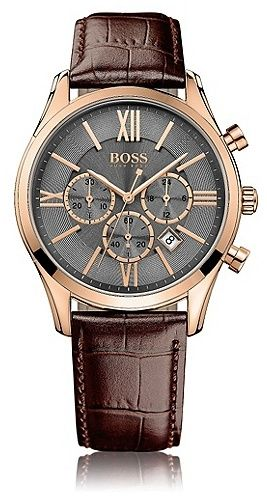 Hugo Boss Chronograph `HBAMBSR` with a quartz movement and a leather strap