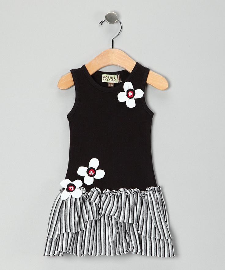 Black & White Daisy Drop-Waist Dress - Infant & Toddler