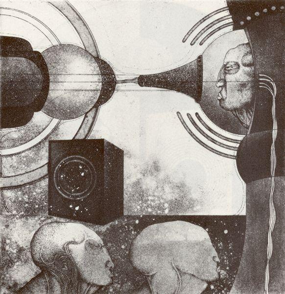 © Franz Anatol Wyss (b.1940, Switzerland)  Kyborg PX, 1971  etching  20 x 19.4 cm