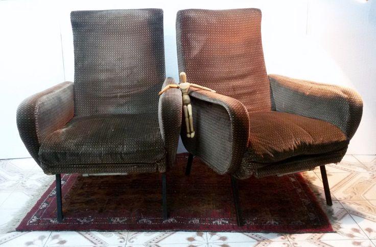 poltrone reclinabili In velluto Armchairs CHAISES,design,style Marco Zanuso anni 60