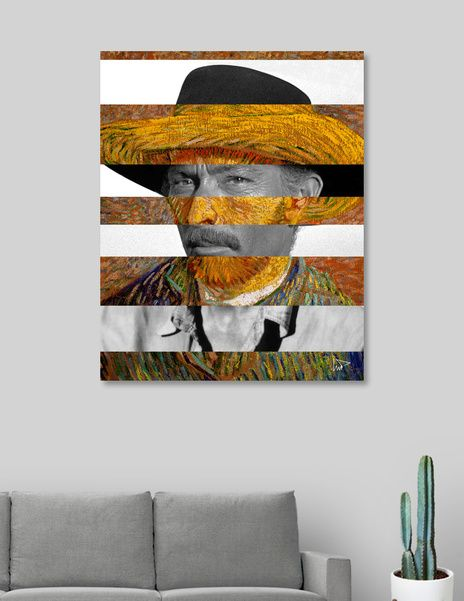 Discover «Van Gogh's Self Portrait and Lee Van Cleef», Exclusive Edition Canvas Print by Luigi Tarini - From $59 - Curioos