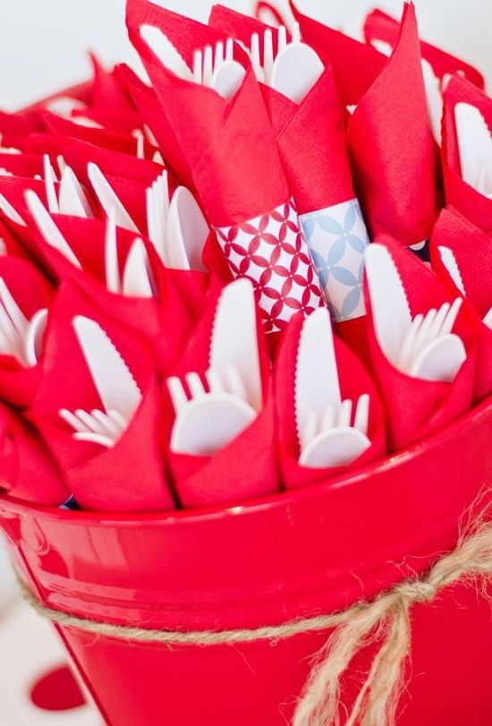 Wrapped silverware. These suit a backyard BBQ dinner! Pin It