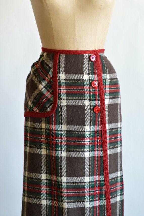 1960s Pendleton Skirt Vintage Wool Plaid Skirt by DalenaVintage