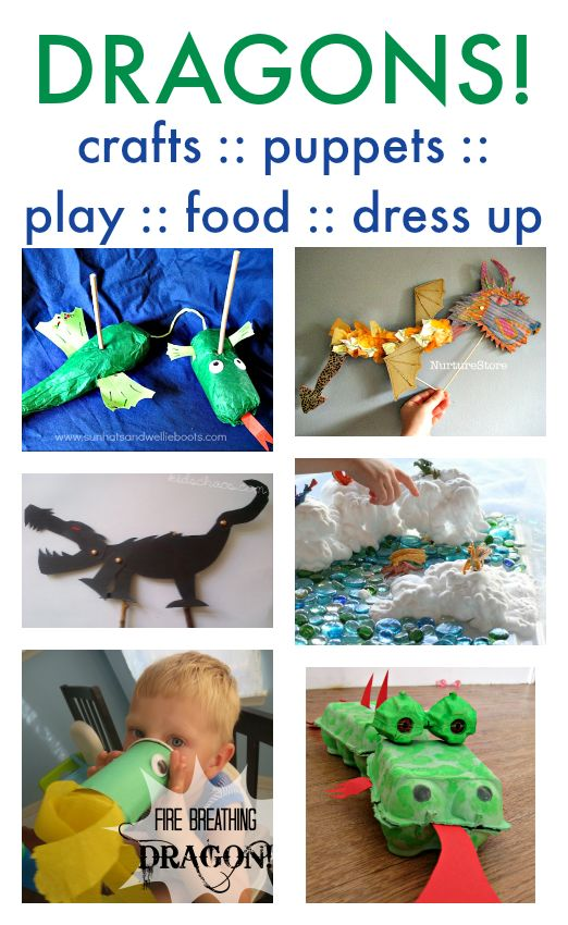 Dragon crafts and activities - dragon puppets, play, dress up and junk models