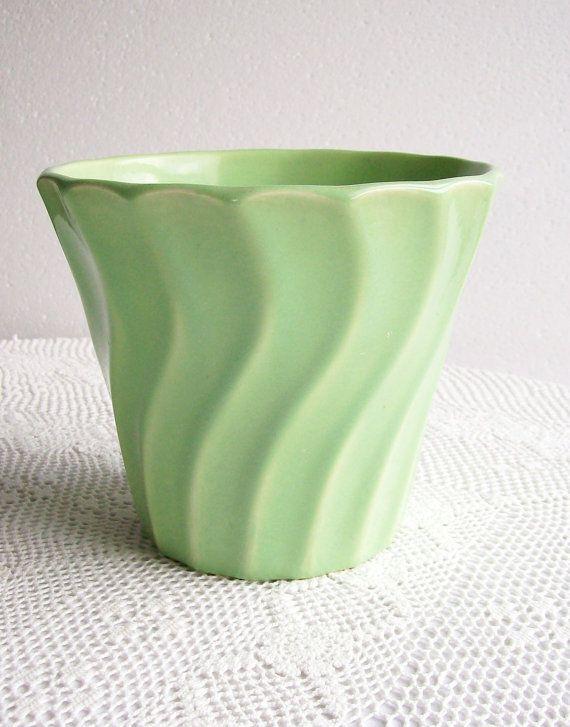 Vintage Swirl Pot Bauer Pottery 6 Green by AletaFordBakerDesign, $30.00