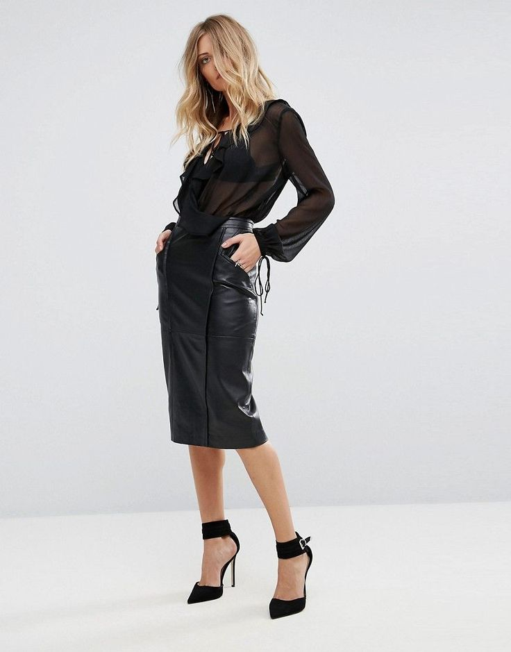 Y.A.S Button Detailed Leather Skirt Women black pE8psMl