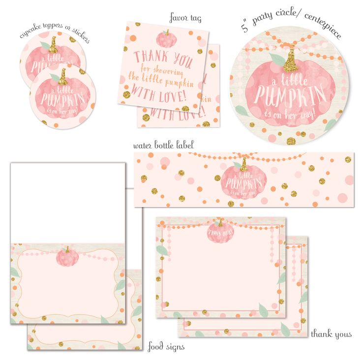 a little pumpkin is on her way fall baby shower - complete party package - instant download - pink pumpkin coordinating baby shower decor by misspokadot on Etsy