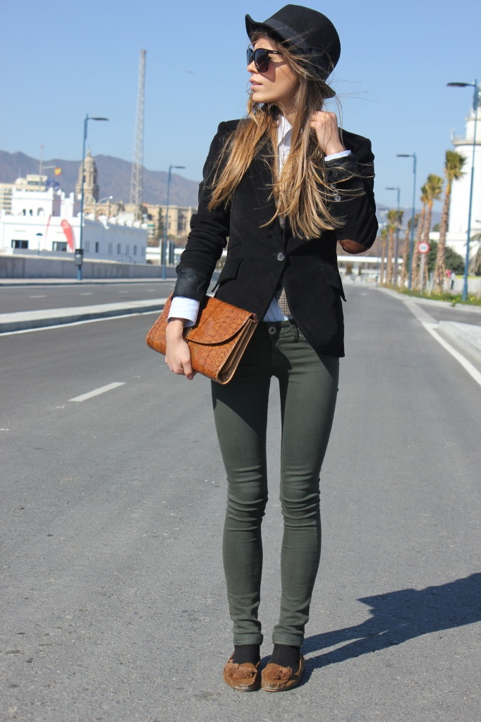 So cute! Black Blazer, White Collared Shirt, Olive Skinnies + Moccasins