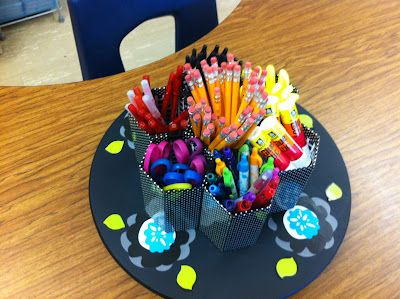 Create●Teach●Share - So far a great blog! Adorable way to display supplies...on a lazy susan!