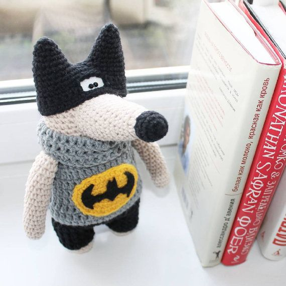 Wolf Batman toy doll  knitted wolf crochet wolf от PrettyBalls