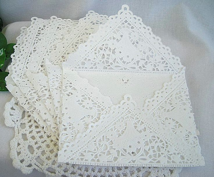 Beautiful White Paper Lace Handmade Envelopes with Vintage Inspired Elegance