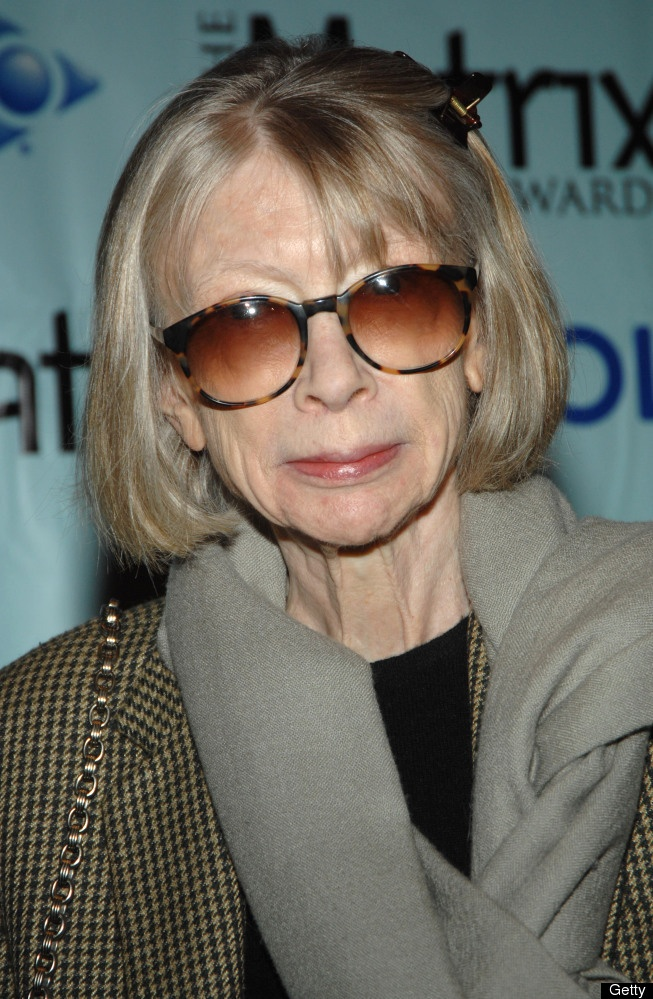"""Joan Didion """"The writer, who detailed her diagnosis [of MS] in """"The White Album,"""" told the New York Times she went blind for six weeks due to the disease."""""""