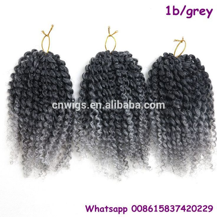 ( Color #1b/grey, 3pcs/set) STOCK 8inch to 10inch Ombre silver grey freetress crochet hair afro kinky curly malibob hair
