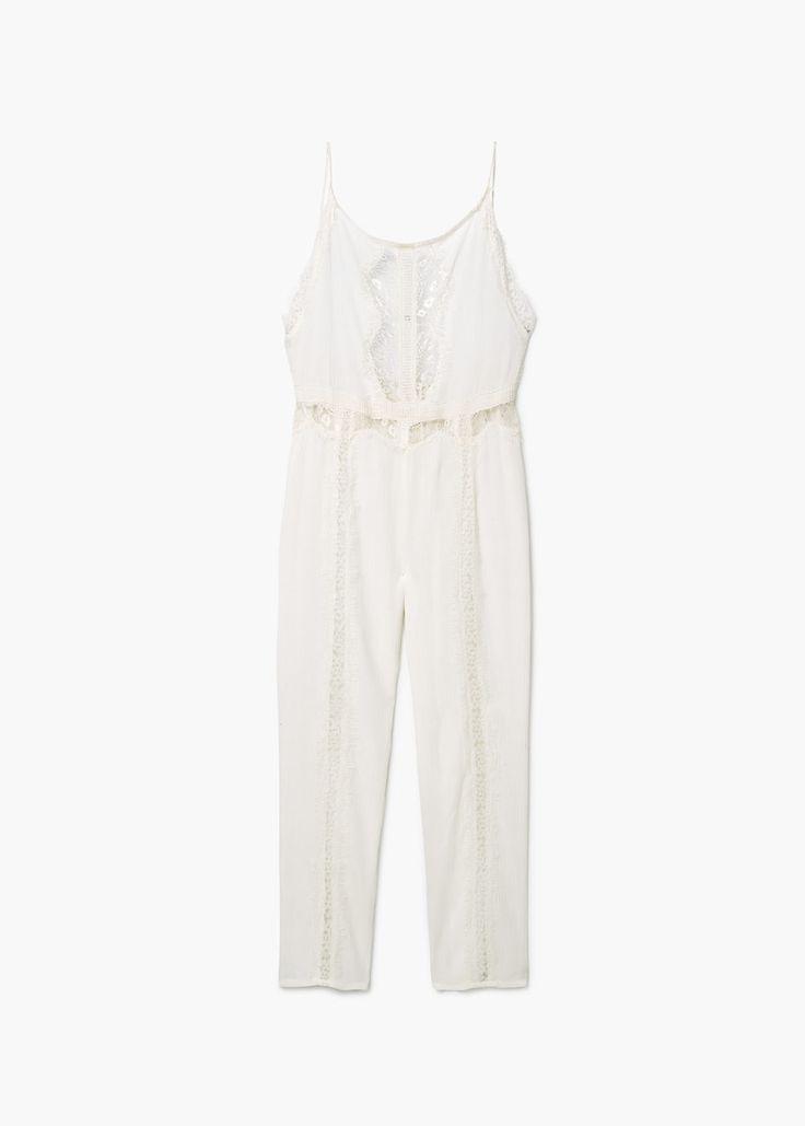 Blond-lace appliqué jumpsuit  