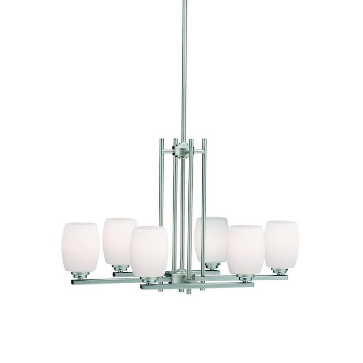 This Brushed Nickel 6 Light Chandelier From Kichler Features Clean Straight Linear Construction With Simple Glass Collection Named Eileen For Famed