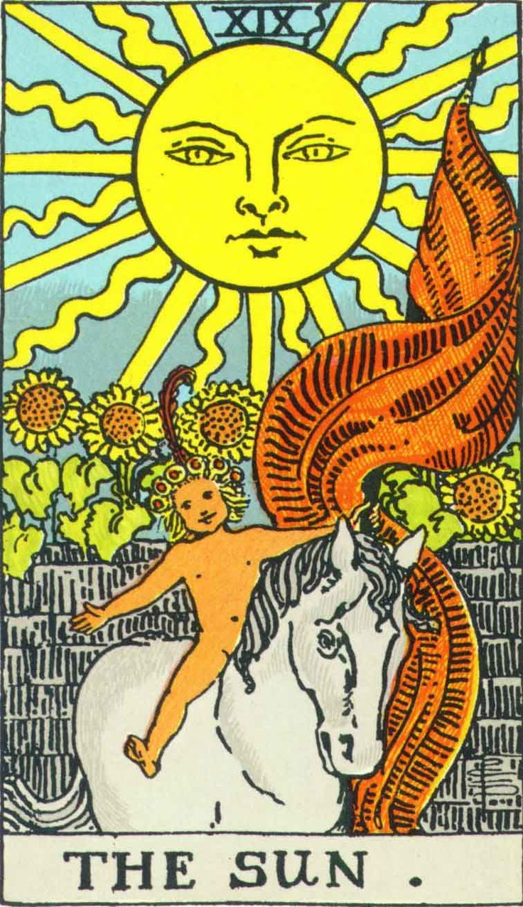 XIX: The Sun is card of intellect and youthful energy. The child in this card can potentially be taken literally or indicate complete self-centered bliss, a child-like mind that has not gone outside itself.