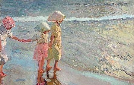 Considerada como una de las más excepcionales obras j kque Sorolla pintó para su primera exposición en EEUU, el cuadro 'Las tres hermanas en la playa'