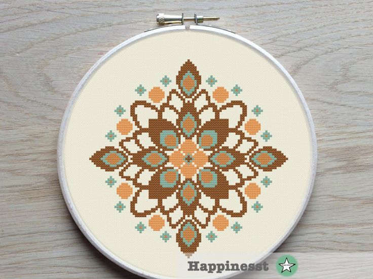 modern cross stitch pattern retro flower ornament by Happinesst